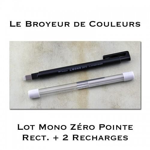 Crayon Gomme Mono Zéro Pointe rectangulaire + 2 Recharges